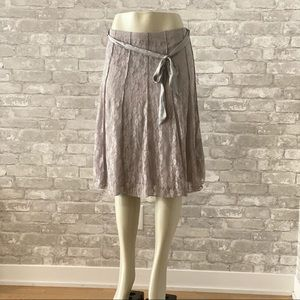 Grey Lace A-Line Skirt with Satin Belt